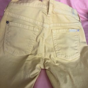 7 for all mankind Yellow cropped skinny denim